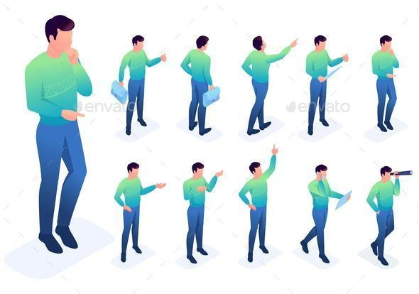Set of Young Boys with Gestures and Emotions - People Characters