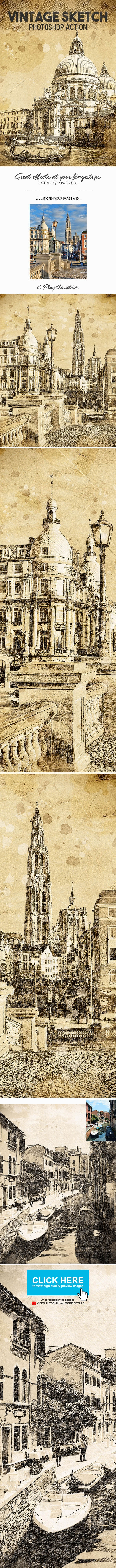 Vintage Sketch Photoshop Action - Photo Effects Actions