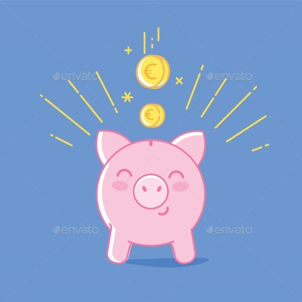 Piggy Bank Blue Background - Concepts Business