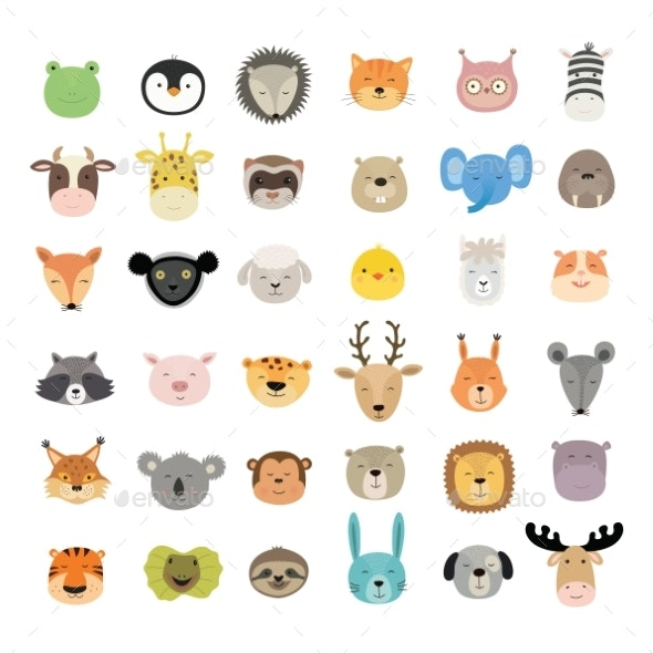 Set of Animal Faces - Animals Characters