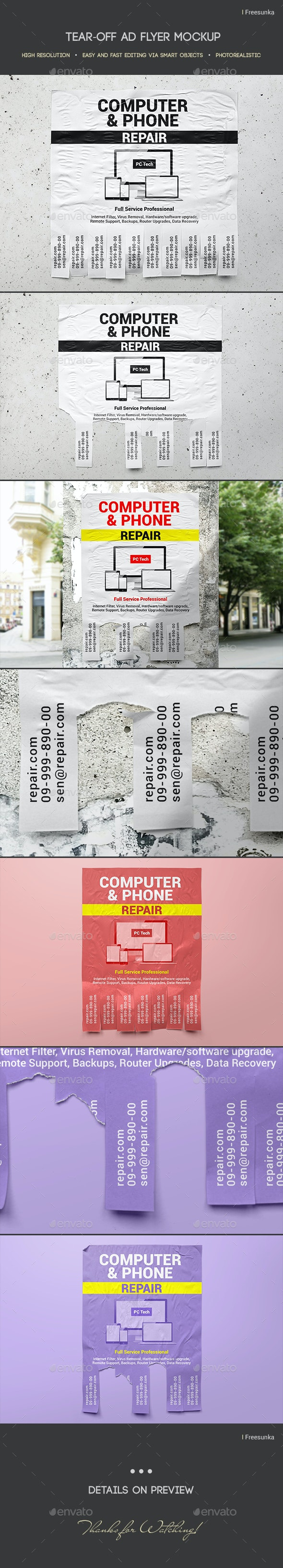 Tear-off Ad Flyer Mockup - Miscellaneous Print