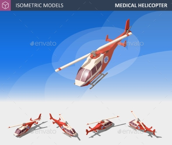 Isometric Medical Helicopter Evacuation - Health/Medicine Conceptual