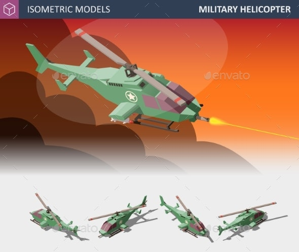 Isometric Single-Engine Attack Helicopter Set - Man-made Objects Objects