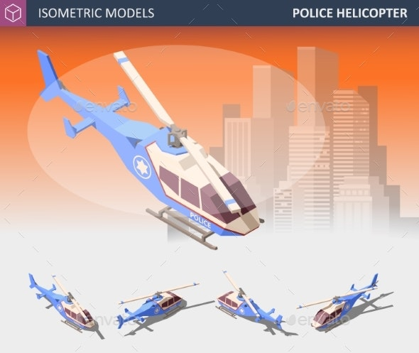 Isometric Police Helicopter Set - Health/Medicine Conceptual