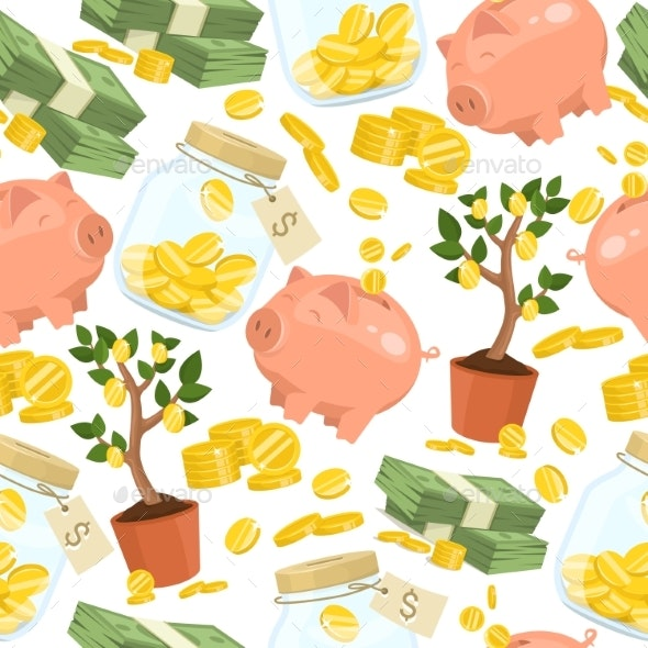 Money Vector Seamless Pattern of Piggy Bank - Backgrounds Business