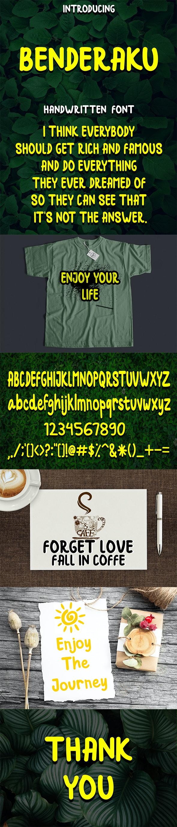 Benderaku Handwritten Font - Handwriting Fonts
