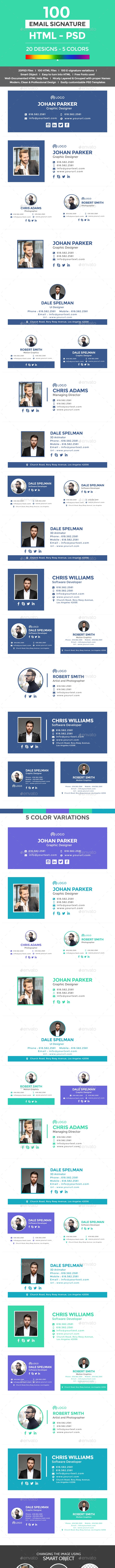 Email Signature Templates - 100 PSD and HTML Files - Miscellaneous Web Elements