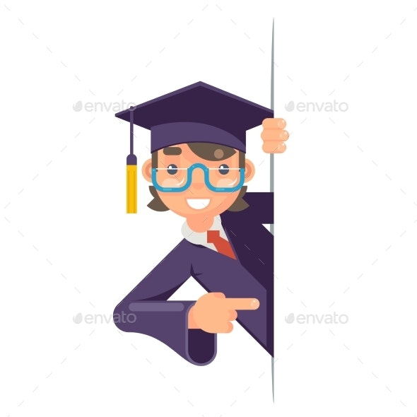 Cartoon Graduate Boy Look Out Corner Promotion - People Characters
