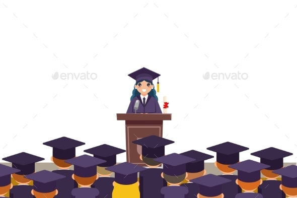 Tribune Graduation Speech Students Crowd Female - Miscellaneous Vectors