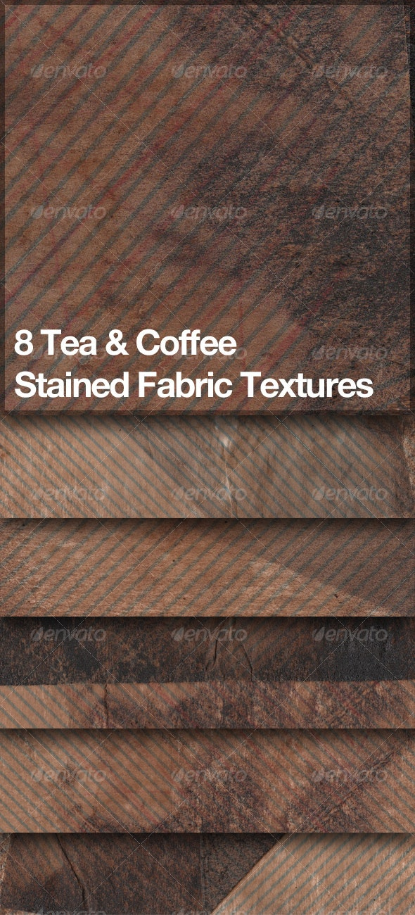 8 Grungy Tea & Coffee Stained Fabric Textures - Industrial / Grunge Textures
