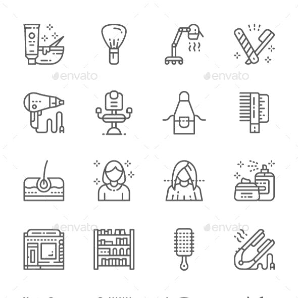 Set Of Barbershop And Beauty Salon Line Icons. Pack Of 64x64 Pixel Icons