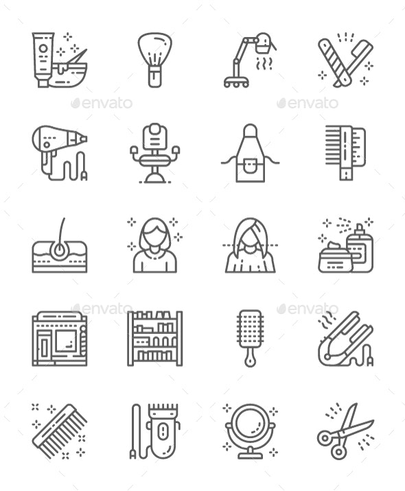 Set Of Barbershop And Beauty Salon Line Icons  Pack Of 64x64 Pixel Icons
