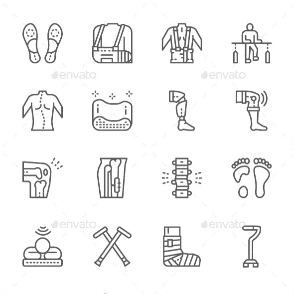 Set Of Medical Rehabilitation And Orthopedic Line Icons. Pack Of 64x64 Pixel Icons