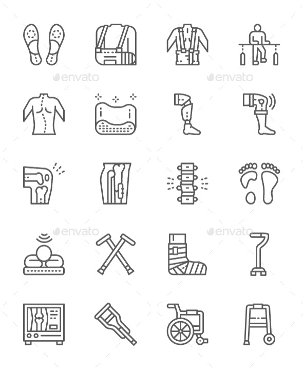 Set Of Medical Rehabilitation And Orthopedic Line Icons. Pack Of 64x64 Pixel Icons - Objects Icons