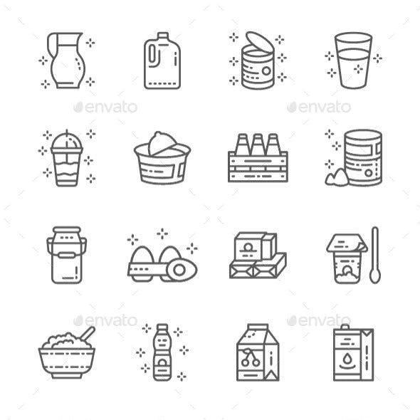 Set Of Dairy Products Line Icons. Pack Of 64x64 Pixel Icons
