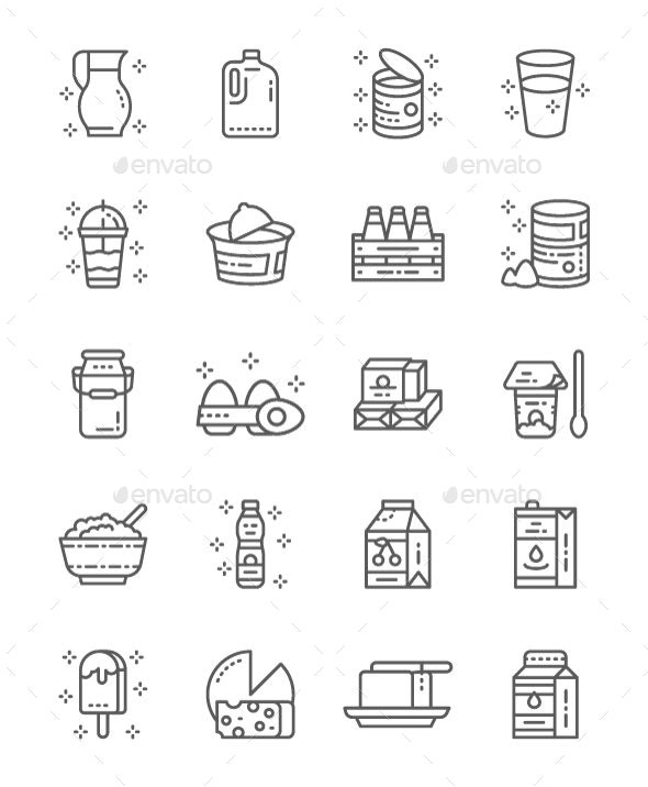 Set Of Dairy Products Line Icons. Pack Of 64x64 Pixel Icons - Food Objects