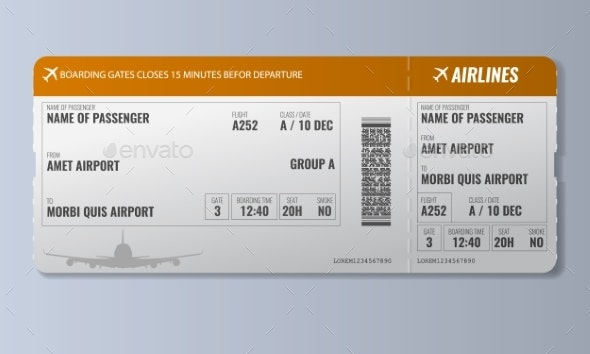 Airline Boarding Pass or Air Ticket Design - Miscellaneous Vectors