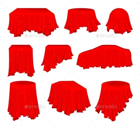 Flat Vector Set of Bright Red Cloth - Miscellaneous Vectors