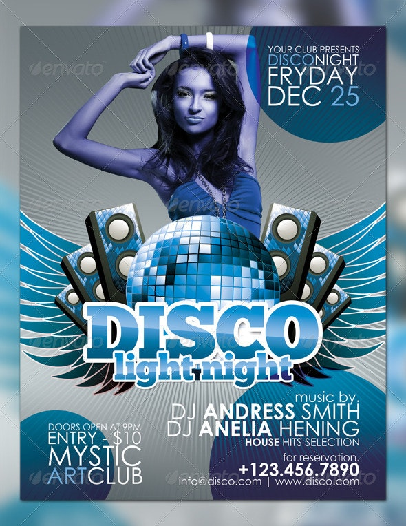Disco Light Night Flyer - Clubs & Parties Events