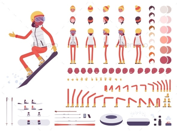 Skier Woman Character Creation Set - Sports/Activity Conceptual