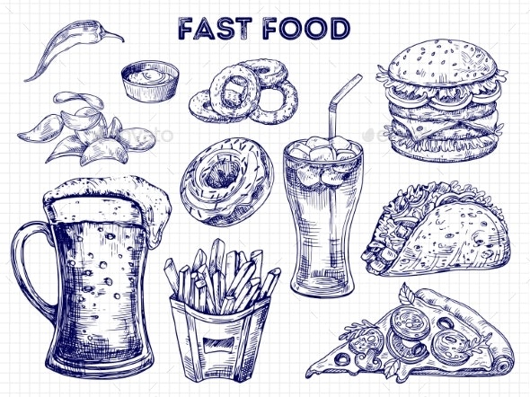 Fast Food, Snacks and Drinks Sketches Vector - Food Objects