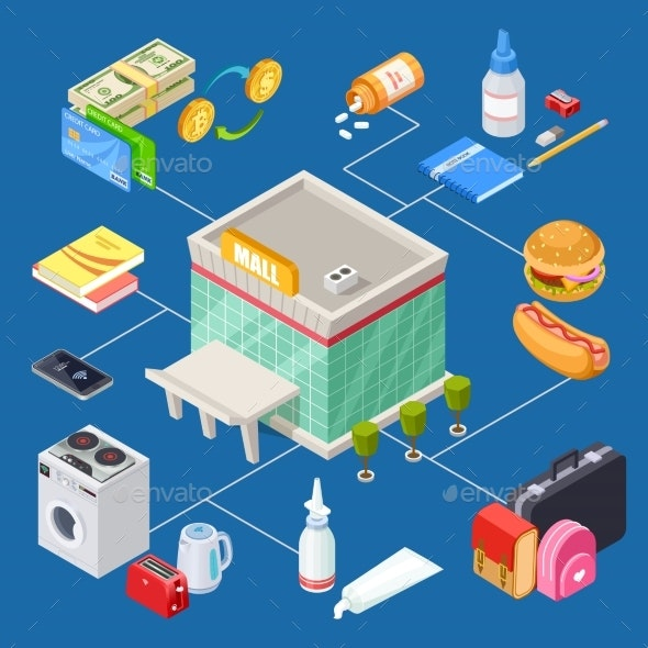 Isometric  Multifunctional Shopping Mall Vector - Miscellaneous Vectors