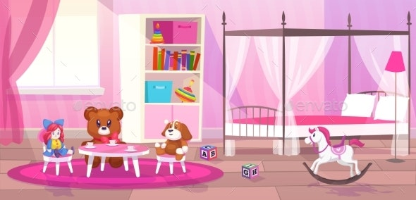 Child Bedroom Interior Girls - Buildings Objects