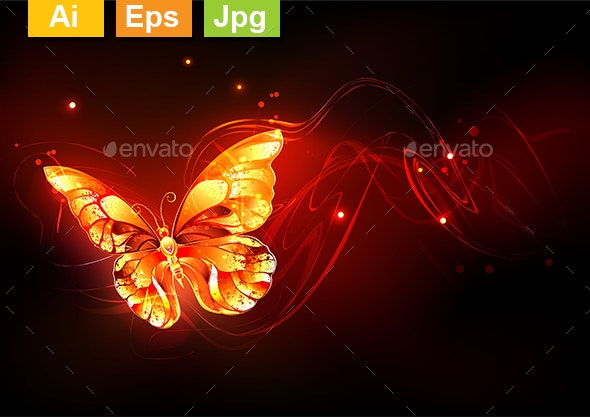 Flying Fire Butterfly - Animals Characters