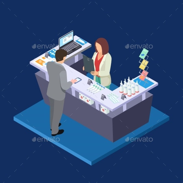 Pharmacy Isometric Vector Concept with First Aid - People Characters
