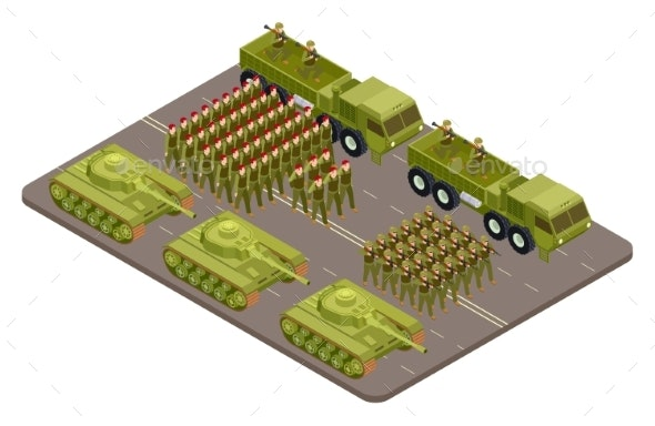Military Parade Vector Isometric with Soldiers - Man-made Objects Objects