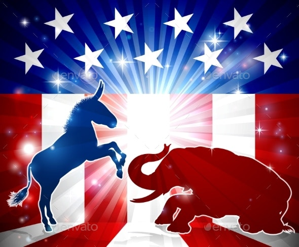 Democrats Vs Republicans - Backgrounds Decorative