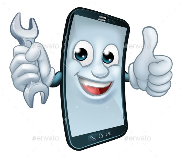 Mobile Phone Repair Spanner Thumbs Up Mascot - Computers Technology