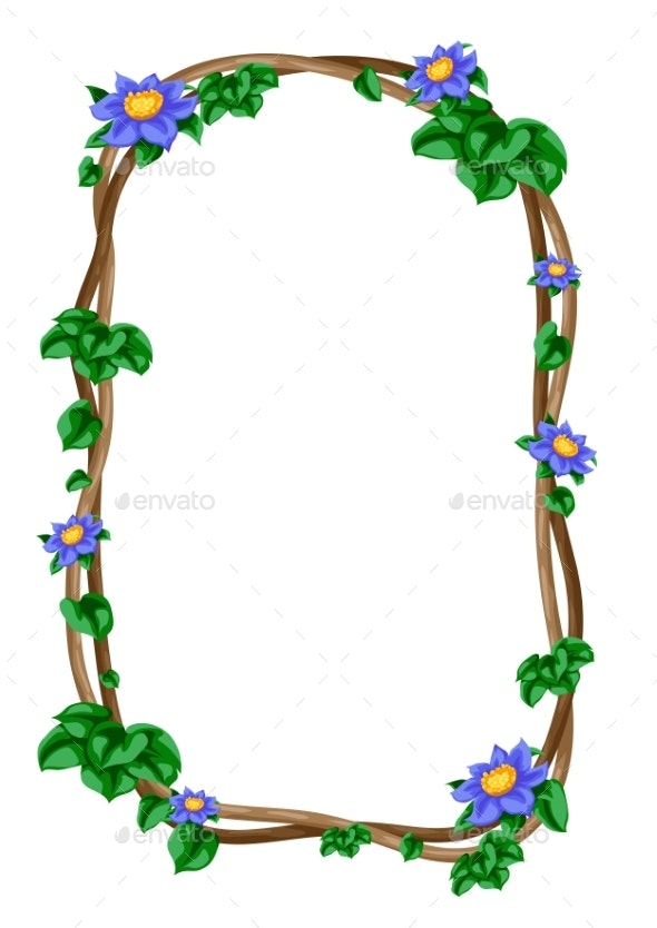 Twisted Wild Lianas Branches Frame - Flowers & Plants Nature