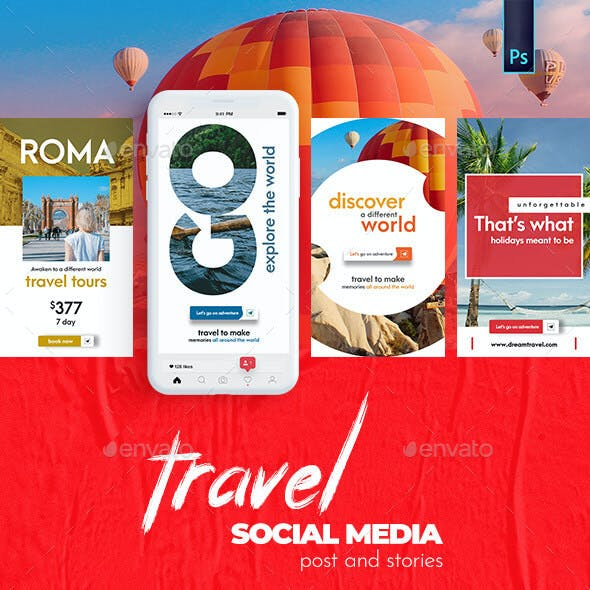 Travel - Tours Banner - Social Media Post and Stories