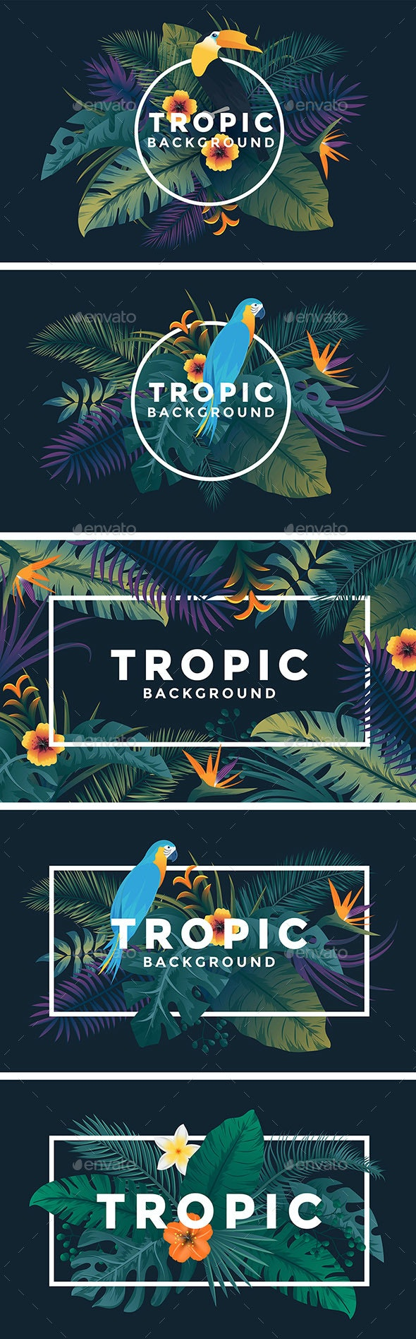 Various Tropical Backgrounds with Jungle Plants - Backgrounds Decorative
