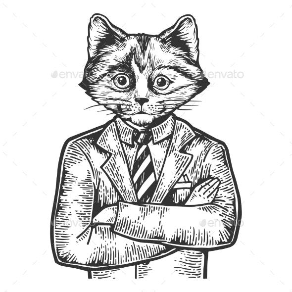 Kitten Businessman Sketch Engraving Vector - People Characters
