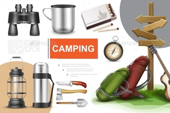 Realistic Camping Elements Composition - Sports/Activity Conceptual