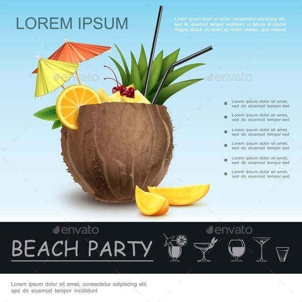 Realistic Beach Party Concept - Food Objects