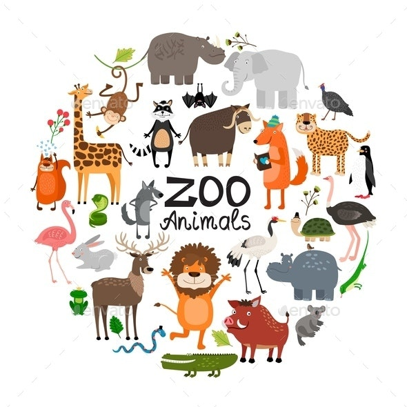 Flat Zoo Animals Round Concept - Animals Characters