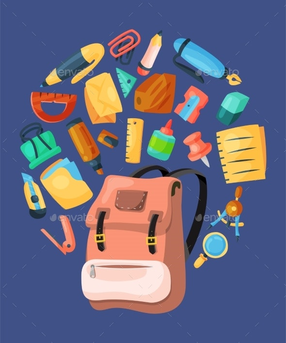 Backpack Poster for Kids School - Miscellaneous Vectors