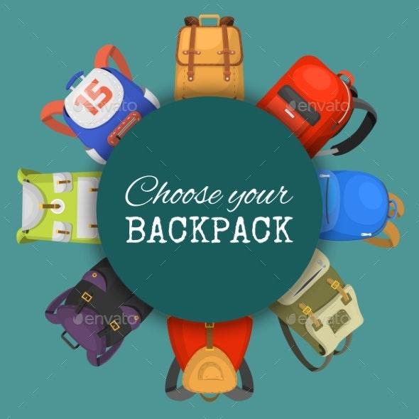 Colored School Backpacks Set - Miscellaneous Vectors