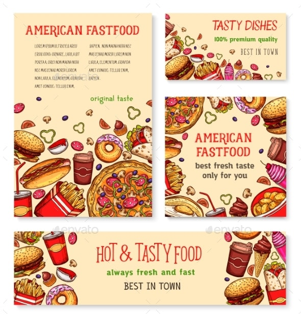 Fast Food Banner and Poster Template Set Design - Food Objects