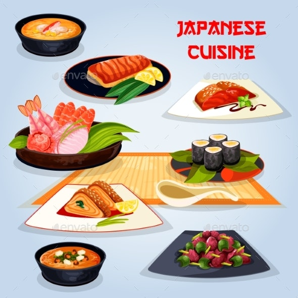 Japanese Cuisine Popular Dishes for Lunch Icon - Food Objects