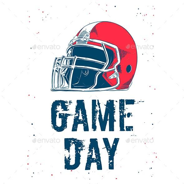 Hand Drawn Sketch of American Football Helmet - Sports/Activity Conceptual