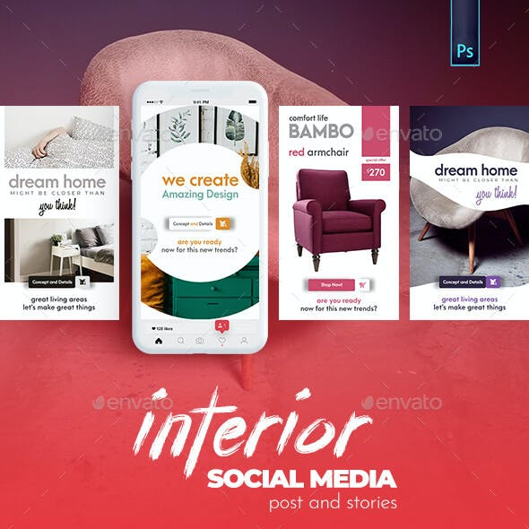 Interior - Furniture Banner - Social Media Post and Stories