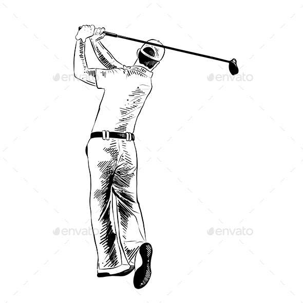 Hand Drawn Sketch of Golfer in Black - Sports/Activity Conceptual