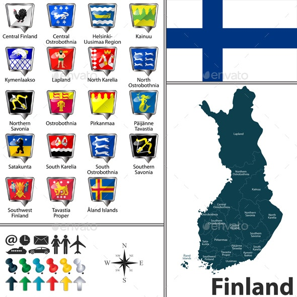 Map of Finland - Travel Conceptual