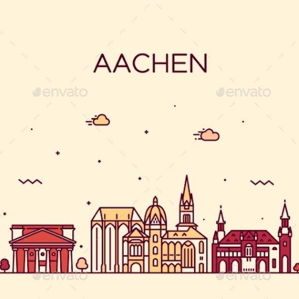 Aachen North Rhine Westphalia Germany Vector Line