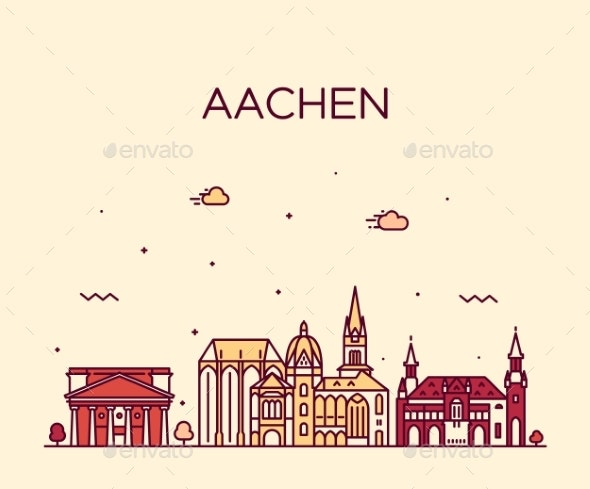 Aachen North Rhine Westphalia Germany Vector Line - Buildings Objects