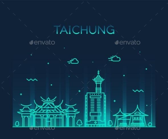 Taichung City Skyline Taiwan Vector Linear Style - Buildings Objects
